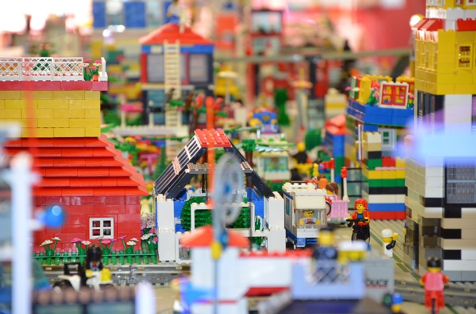 a made-up town of model pieces